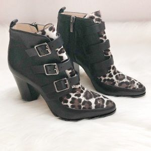 Jimmy Choo Leopard Buckle Ankle Boots Booties